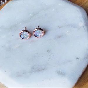 White & Rose Gold Circle Druzy Post Stud Earrings